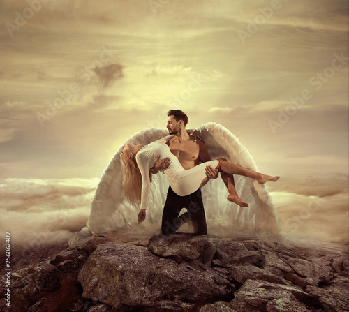 Portrait of an archangel carrying a beautiful innocent woman Fotobehang