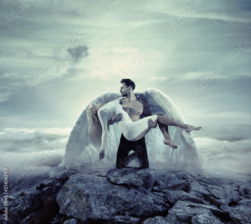 Poster Artist KB Handsome archangel carrying an innocent, unconscious lady