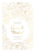 Wedding Marriage Event Invitation Card Template. Rose Peony Daffodil Narcissus Flowers. Copper Gold Shiny Outline.