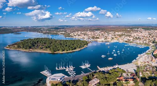 Aerial shot of Medulin, a town in Croatia, popular tourist destinaion Canvas Print