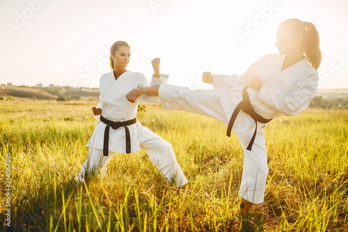 Two female karate in kimono training combat skill Canvas Print