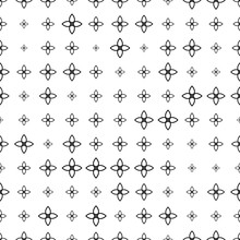 Black And White Seamless Pattern With Halftone Geometric Shapes, Flowers, Texture Infinity. Abstract Floral Geometrical Background. Screen Print. Vector Illustration.