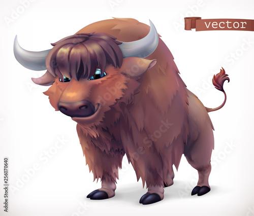 Fotografia  Yak, buffalo cartoon character. Funny animal, 3d vector icon