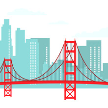 San Francisco Modern Cityscape Vector Illustration
