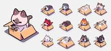 Cats In Boxes Sticker Set For....