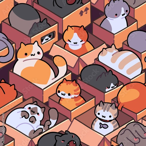 obraz dibond Seamless cat pattern. Cartoon animals background. Ideal for fabric, wallpaper, wrapping paper, textile, t-shirt print.