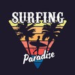 Vintage colorful surfing concept