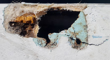 Closeup Of A Damaged Fiberglass Boat