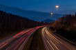 Motorway at Dusk with Car Lights