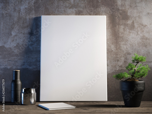 Fototapeta Mock up poster on old wall, canvas with decoration composition, 3d render, 3d il