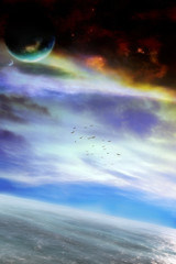 original fantasy landscape artwork with majestic atmosphere