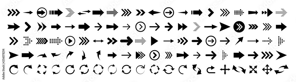 Fototapety, obrazy: Arrows set of 100 black icons. Arrow icon. Arrow vector collection. Arrow. Cursor. Modern simple arrows. Vector illustration.