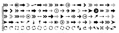 Arrows set of 100 black icons Tapéta, Fotótapéta