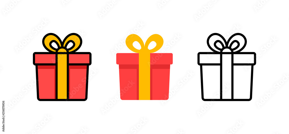Fototapeta Set of gift box with ribbon. Box line icons. Surprising gift box. Vector illustration.