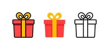 Set Of Gift Box With Ribbon. B...