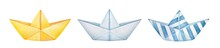 Collection Of Different Folded Paper Boats. Blank Yellow, Classic White And Striped Blue. Summertime Vacations, Travel, Childhood Symbol. Hand Drawn Watercolour Painting, Cut Out Clip Art Elements.
