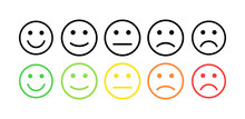 Feedback Vector Concept. Rank, Level Of Satisfaction Rating. Excellent, Good, Normal, Bad Awful. Feedback In Form Of Emotions, Smileys, Emoji. User Experience Review Of Consumer.