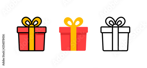Obraz Set of gift box with ribbon. Box line icons. Surprising gift box. Vector illustration. - fototapety do salonu