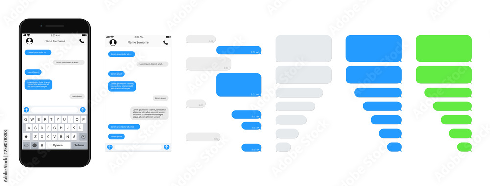 Fototapety, obrazy: SmartPhone chatting sms template bubbles. SMS chat composer. Place your own text to the message. Phone chatting sms template bubbles. Vector illustration.