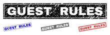 Grunge GUEST RULES Rectangle Stamp Seals Isolated On A White Background. Rectangular Seals With Grunge Texture In Red, Blue, Black And Gray Colors.