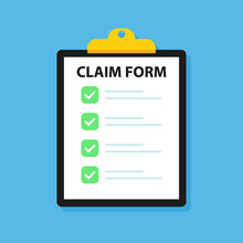 Clipboard Claim Form. Check Li...