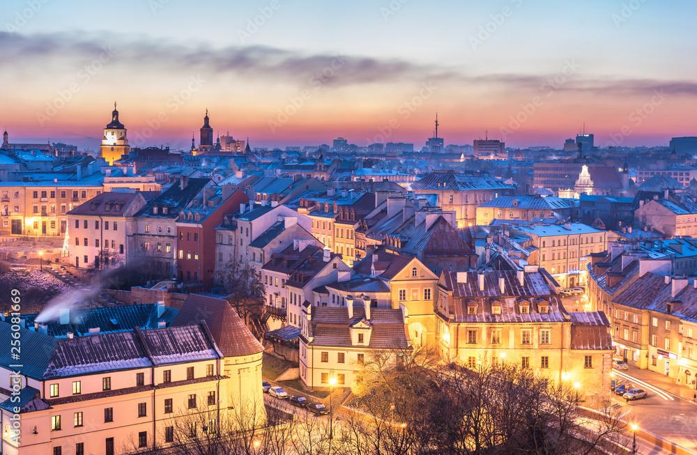 Fototapeta Panorama starego miasta w mieście Lublin, Polska - obraz na płótnie