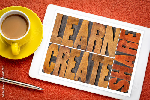 Fotografie, Obraz  learn, create and share word abstract on tablet