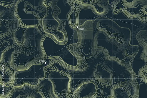 View From Above Alien Terrain Conceptual Vector Topographic Map With Route And Coordinates User Interface Abstract Background Canvas