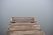 Dilapidated Wooden Deck At Lake