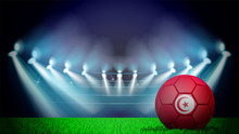 Illustration Of Realistic Soccer Ball Painted In The National Flag Of Tunissia On Lighted Stadium. Vector Can Be Used In Advertising