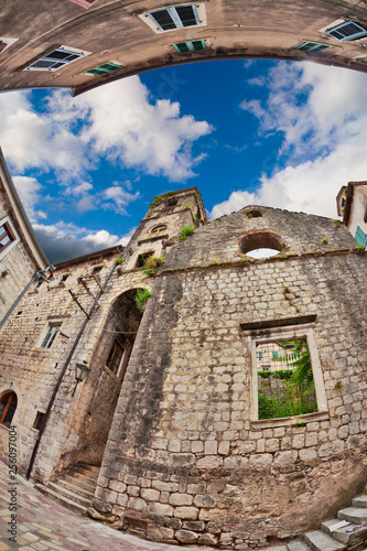 Fotografie, Obraz  Fish-eye view of the old city on sky background