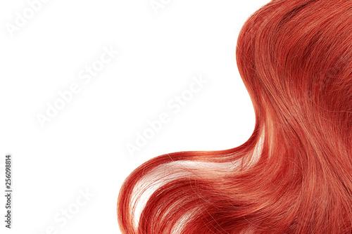 Natural red hair isolated on white. Background Fototapeta