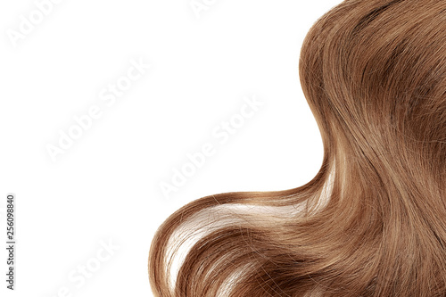 Fotografie, Obraz  Natural brown hair isolated on white. Background