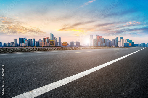 Fototapety, obrazy: Foreground highway asphalt pavement city building commercial building office building