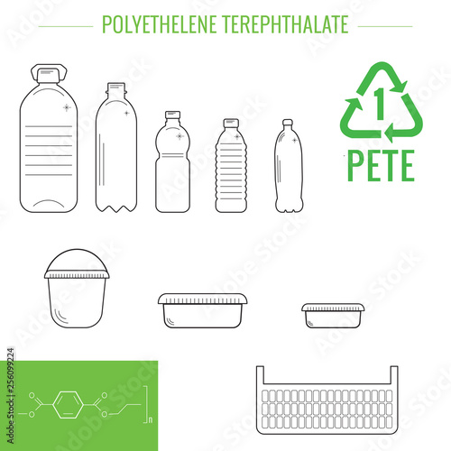 Photo Vector plastic recyclable items.