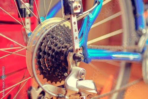 Detail of change- speed on bicycle  Bike speed changing