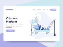 Landing Page Template Of Offshore Platform Illustration Concept. Isometric Flat Design Concept Of Web Page Design For Website And Mobile Website.Vector Illustration