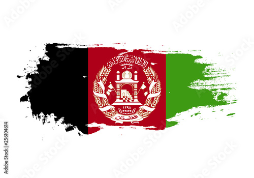 Photo Grunge brush stroke with Afghanistan national flag