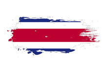 Grunge Brush Stroke With Costa Rica National Flag. Watercolor Painting Flag. Symbol, Poster, Banner Of The National Flag. Vector Isolated On White Background.