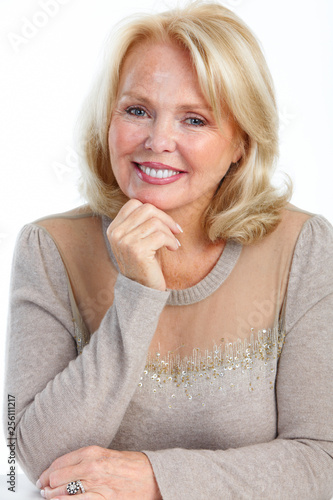 Smiling elderly senior woman