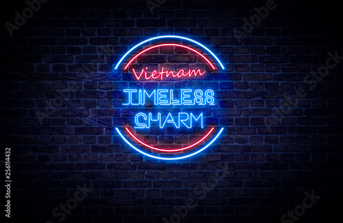A Red And Blue Neon Light Sign That Reads Vietnam Timeless Charm Buy This Stock Photo And Explore Similar Images At Adobe Stock Adobe Stock
