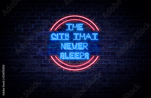 Photo A red and blue neon light sign that reads: The City That Never Sleeps (NYC)