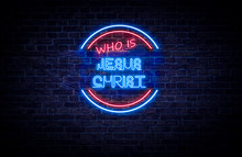 A Red And Blue Neon Sign On A ...