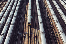 Subway Metro Train Station Depo With Many Railway Routes