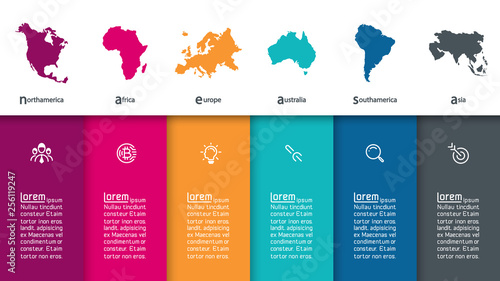 Fototapeta  Continental infographics information on vector graphic art.