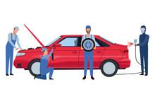Car Service Manufacturing Cartoon