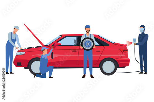 Spoed Foto op Canvas Cartoon cars car service manufacturing cartoon