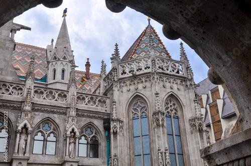 Fotografie, Obraz  Exterior views of Matthias Catholic Church in Budapest Hungary