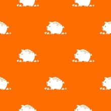 Broken Piggy Bank Pattern Vector Orange For Any Web Design Best