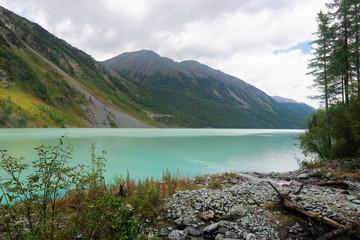 Turquoise glacier Kucherla lake. Russia, Altai Mountains.